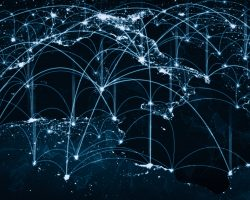 Europe network connection covering continent with lines of innovative perception
